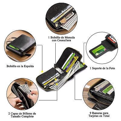 Mens Womens Genuine Leather Wallet RFID Blocking Zipper Bifold Credit Card Purse 7