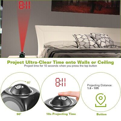 Alarm Clock LED Wall/Ceiling Projection LCD Digital Voice Talking Temperature 3