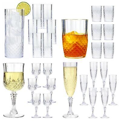Vintage Clear Crystal Effect Plastic Glasses Drinking Picnic Garden Acrylic 2