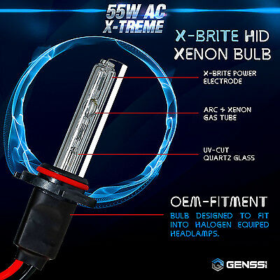 GENSSI AC 55W HID Kit H4 H7 H11 H13 9003 9005 9006 9007 6000K Hi-Lo Bi-Xenon 4