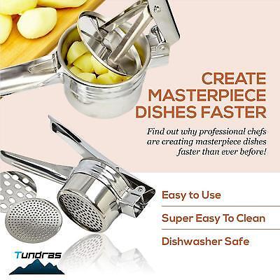 Stainless Steel Potato Ricer,Manual Masher 3 Interchangeable Discs, Fine/Med/Coa 5