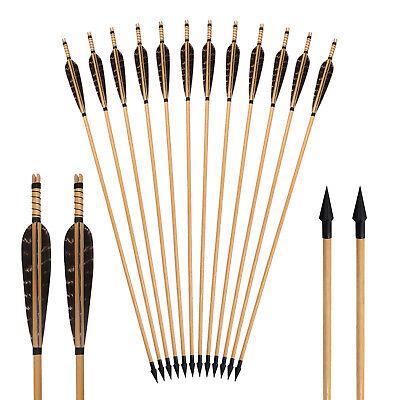 "6Pcs Handmade Wooden Hunting Arrows 32/"" Natural Turkey Feathers Arrows Broadhead"