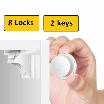 Invisible Magnetic Baby Child Pet Proof Cupboard Door Drawer Safety Lock Catch 9