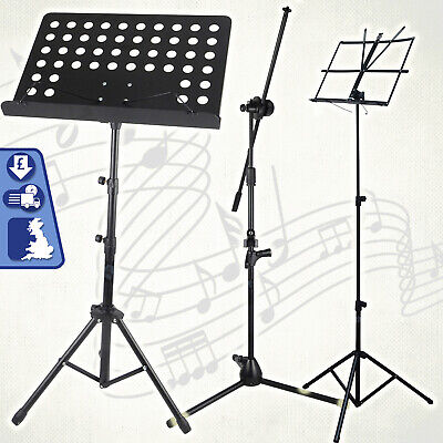 Height Adjustable Music Stand Orchestra Choir Book Holder Tripod Mic Stand 2