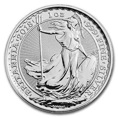 2018 GB 1 oz Silver Britannia (25-Coin MintDirect Premier® Tube) - SKU#152519 2