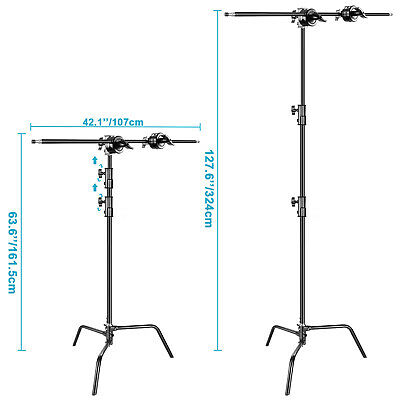 Photo Studio 3m Adjustable C-type Light Stand with 1m Holding Arm and Grip Head 3