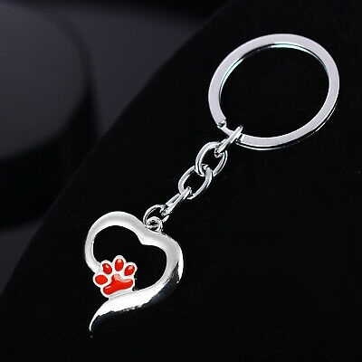 Pet Memorial Key Chain Dog Cat Print Love Heart Keychain Jewelry Charm Gifts 7