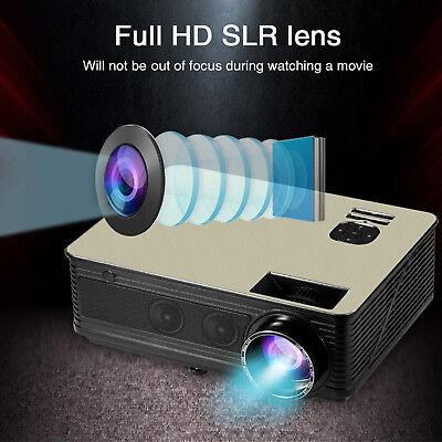 8000Lumens HD SLR Len LED Projector Media Home Outdoor Cinema HDMI USB 1080P VGA 2