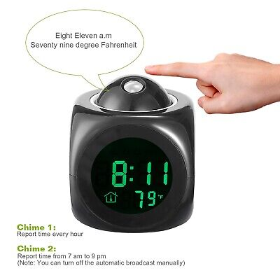 Alarm Clock LED Wall/Ceiling Projection LCD Digital Voice Talking Temperature 5