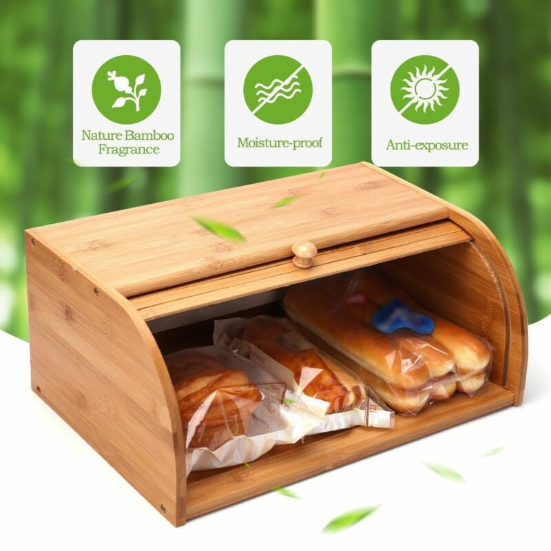 Roll top Bamboo Bread Box Wooden Storage Loaf Container Home Kitchen Food holder 5