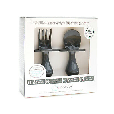 GRABEASEFIRST CUTLERY FOR BABYFORK /& SPOON SETCUTLERY SETCHARCOAL