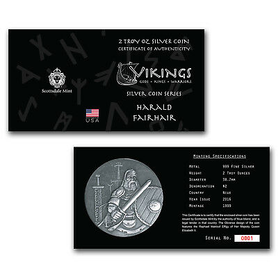 2016 2 oz Silver Coin Viking Series (Harald Fairhair)