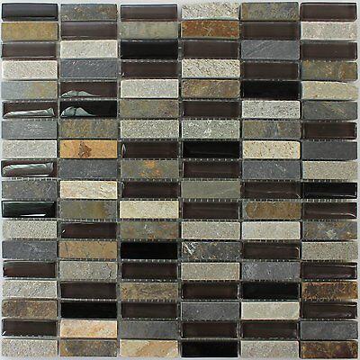 Muster Glas Quarzit Naturstein Mosaik Fliesen Grau Braun Brick Eur