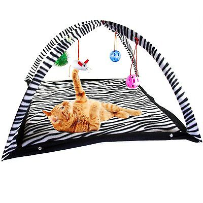 Cat Kitten Soft Play Mat Activity Centre with 4-Hanging Toys Zebra Or Tiger 2