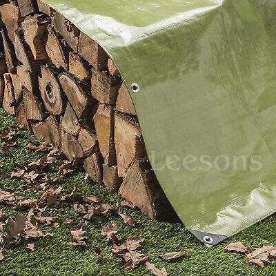Tarpaulin 200gsm Heavy Duty Green Builders Waterproof Ground Sheet Tarp Cover 3