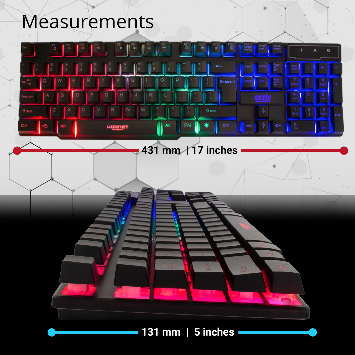 RGB Gaming Keyboard LED Back-lit Wired USB For Xbox PS4 PC Laptop Gaming 7