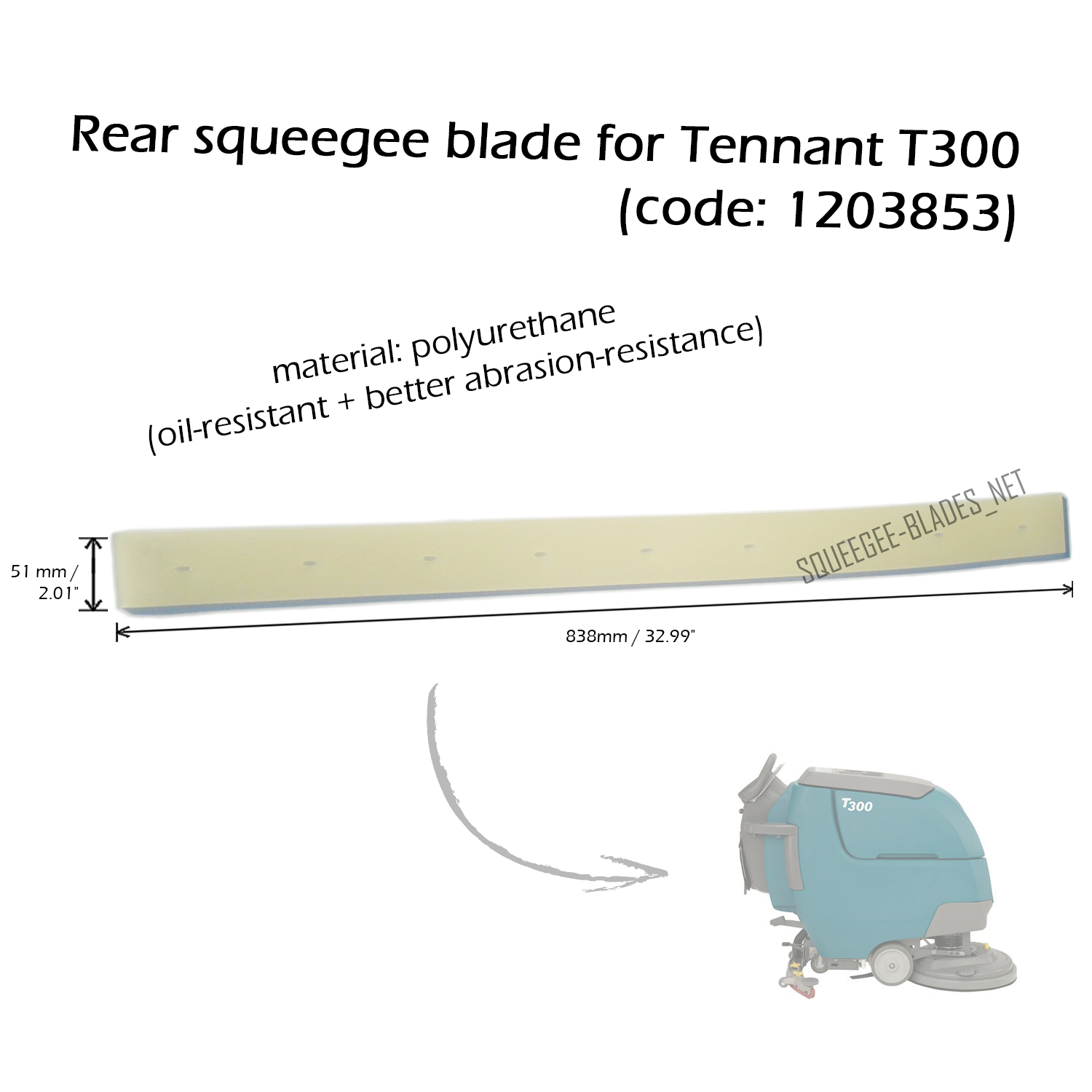 "32"" FREE WORLDWIDE SHIPPING! Squeegee blade set for Tennant T7"