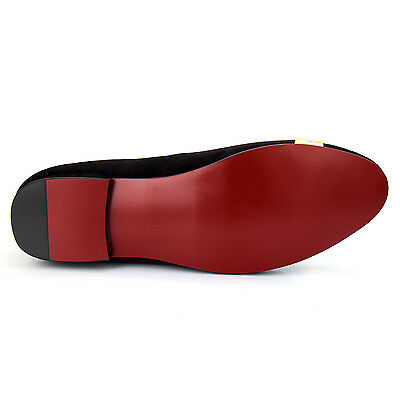 9370811d1ab ... Harpelunde Men Dress Shoes Animal Buckle Black Velvet Loafers With Gold  Plate 11