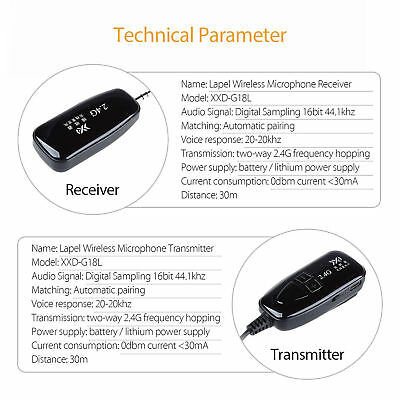 PRO 2.4G Wireless Microphone Lapel-on Voice Amplifier MIC Receiver & Transmitter 7