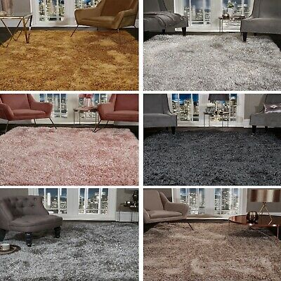 5.5cm Large SHAGGY Floor RUG Soft SPARKLE Shimmer Glitter Thick Soft Pile Rugs 4