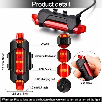 USB Rechargeable Bike Lights Front Rear Warning Light Waterproof 5 LED Red White