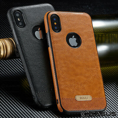 SLIM Luxury Leather Back Ultra Thin TPU Case Cover for iPhone X & 8/7/6s Plus 5