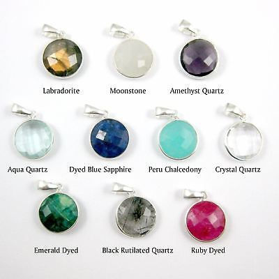 Bezel Gem Pendant with Bail-Emerald Dyed Sterling Silver Round  Bezel 24mm