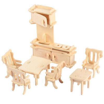 Mini 3D Wooden Puzzle DIY 34 Pcs Miniature Dollhouse Furniture Models For Doll 12