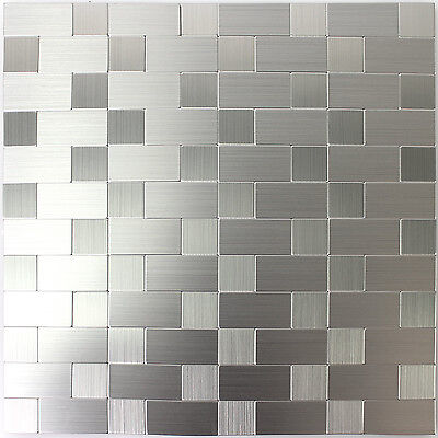 SELBSTKLEBENDE METALL EDELSTAHL Mosaik Fliesen Silber Mix Bad WC - Klebe bordüre für fliesen