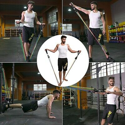 Resistance bands Set Workout with Handles Heavy Tube Exercise Fitness Gym 11PCs 8
