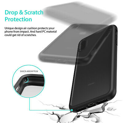 iPhone X XS Max XR Case ZUSLAB Clear Heavy Duty Shockproof Slim Cover + GLASS SP 6