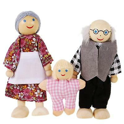 UK Wooden Furniture Dolls House Family Miniature 7 People Doll Kids Children Toy 12