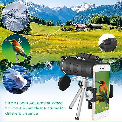 50x60 Portable HD Optical Monocular Telescope Day/Night Vision+Phone Clip+Tripod 7