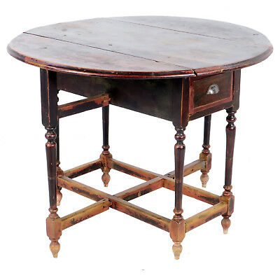 Antique Asian Chinese 42 inch Round Drop Leaf Gate Leg Table 10