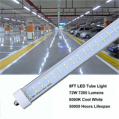 25 Pack JESLED 8FT LED Tube Light Bulbs T8 FA8 Single Pin 72W 6000K 7200LM 4