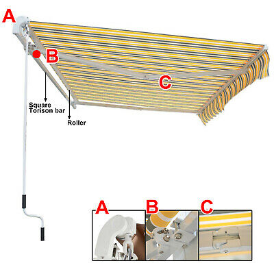 Retractable Awning Manual Outdoor Garden Canopy Patio Sun Shade Shelter 8 Colour 9