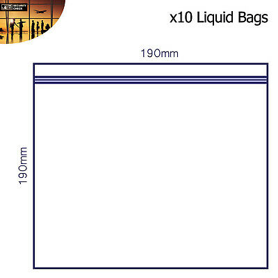 10 x Clear AIRPORT SECURITY LIQUID BAGS Plastic Seal HOLIDAY Travel HAND LUGGAGE 4