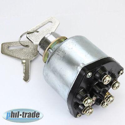 universal Zündschloss 2 Schlüssel 6 Kontakte Auto Bus LKW Boot Traktor Oldtimer