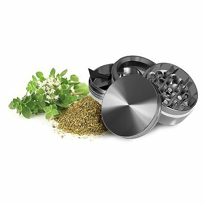 4 Piece Magnetic 1.5 Inch grey Tobacco Herb Grinder Spice Aluminum With Scoop 2