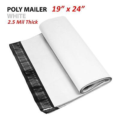 1~1000 Multi Pack 19x24 White Poly Mailers Shipping Envelopes Self Sealing Bags 2