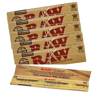 Raw Classic Rizla King Size Slim 110mm Natural Unrefined Rolling Papers Full rzP 6