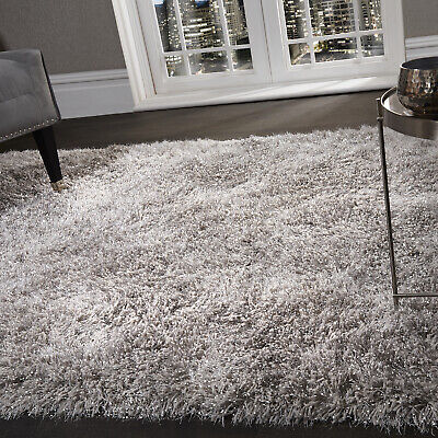 5.5cm Silver Grey Large SHAGGY Floor RUG Soft SPARKLE Shimmer Glitter Thick Pile 6