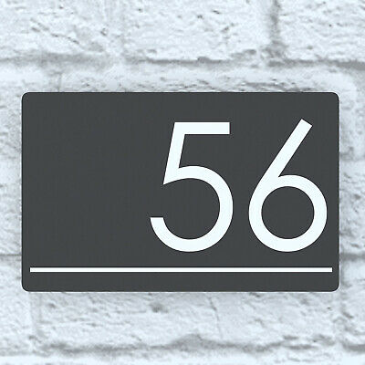 PERSONALISED GREY FLOATING HOUSE NUMBER PLAQUE HOUSE SIGN CONCEALED FIXINGS