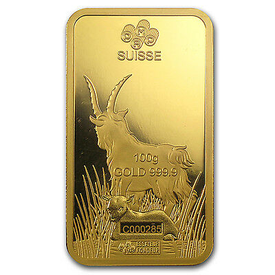 100 gram Gold Bar - PAMP Suisse Year of the Goat (In Assay) - SKU #86050 3