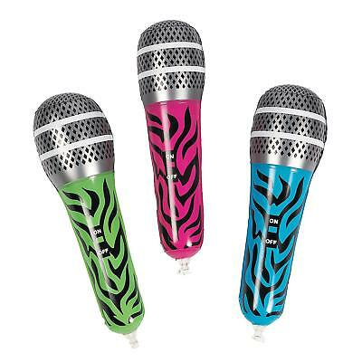 """12"""" Inflatable Blue Zebra Microphone Mic Musical Instrument Kids Toy Blow Up"""