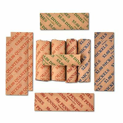200ct Assorted Flat Coin Wrappers Tubes Rolls Quarters Pennies Nickels Dimes 3