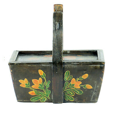 Small Antique Chinese Painted Food Utility Box, Black with Colorful Paintings 5
