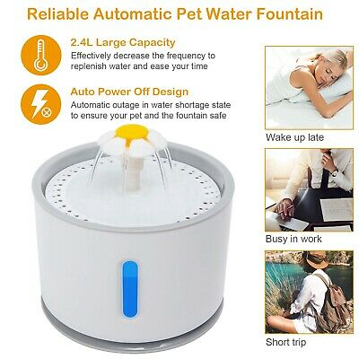 2.4L Automatic Pet Cat Water Fountain Drinking Dispenser LED Light Ultra Silent 3