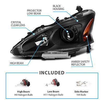 For 2013-2015 Altima 4-Door Sedan Black Projector Headlights Pair 5