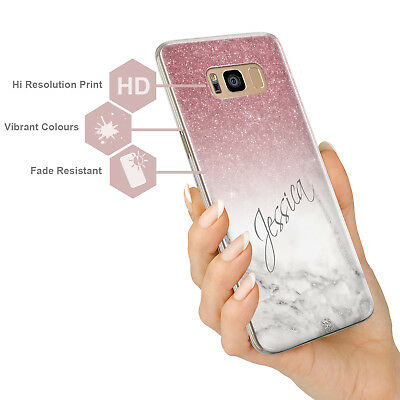 Personalised Champagne Rose Gold Marble Glitter Look Hard Phone Case For Samsung 5